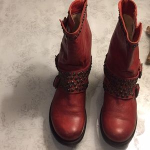 Frye boots short slouchy, studs, distressed